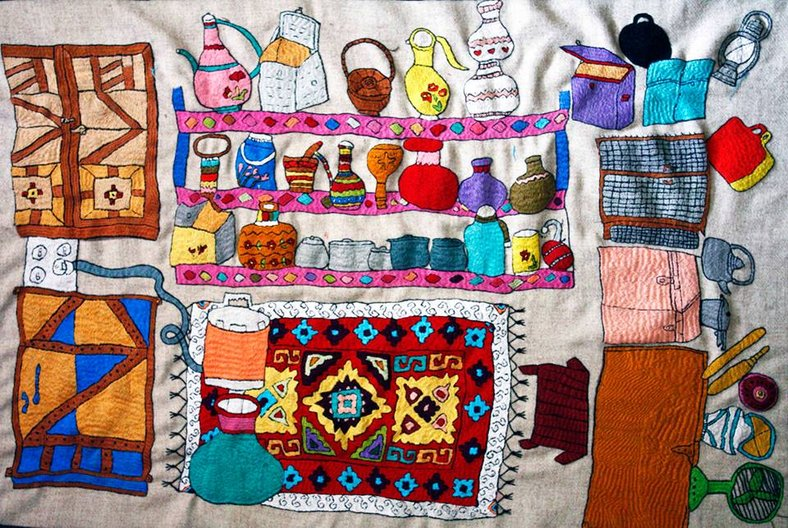 MEHRIA'S STORE, HAND EMBROIDERED ON HARRIS TWEED