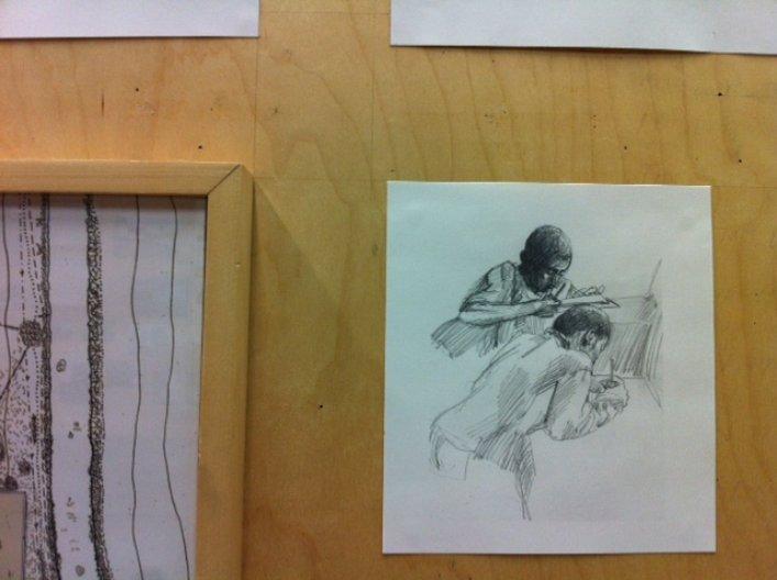 'Abu and Joseph do their homework' drawing by Imran Sabur; photo by Dorota Drajewicz