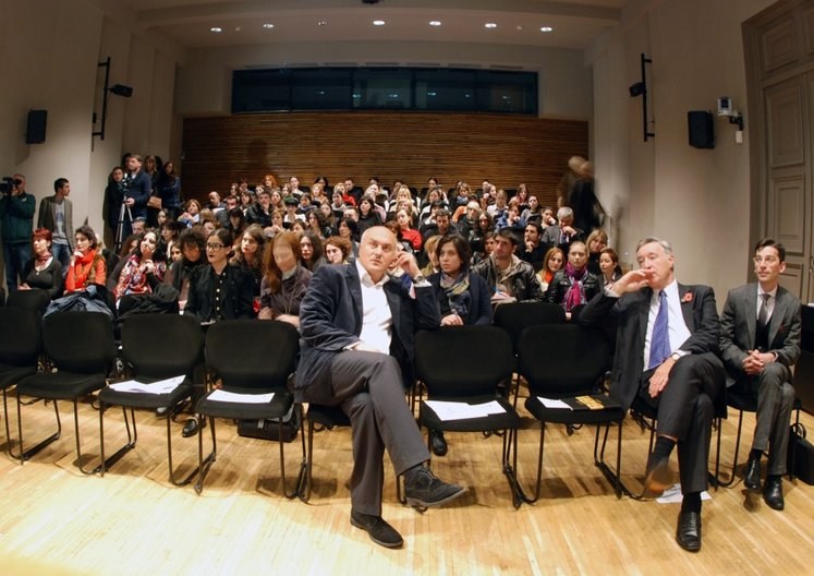 Audience at fashion film screening and presentation on UK fashion exhibitions