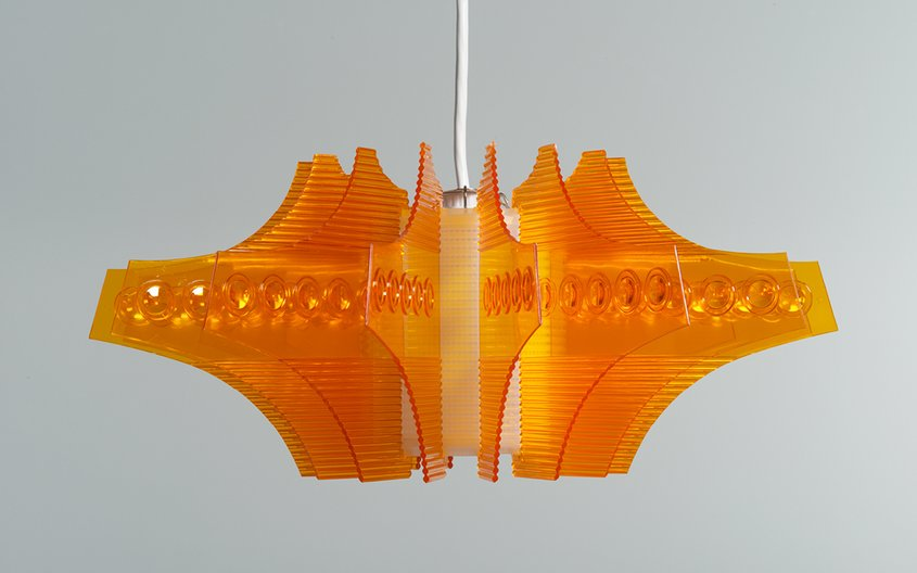 Red A Plastic Crystal lamp fixture no. 1616, designed circa 1970, by Star Industrial Co Ltd © M+