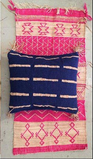 Woven rug and cushion © Rebecca Hoyes